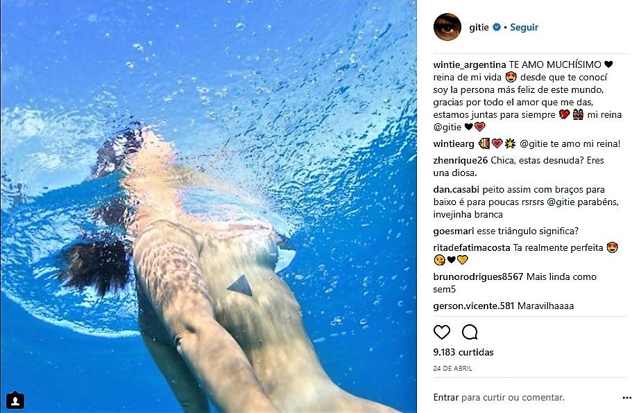 Giselle Itié publica foto nua durante mergulho: despertar