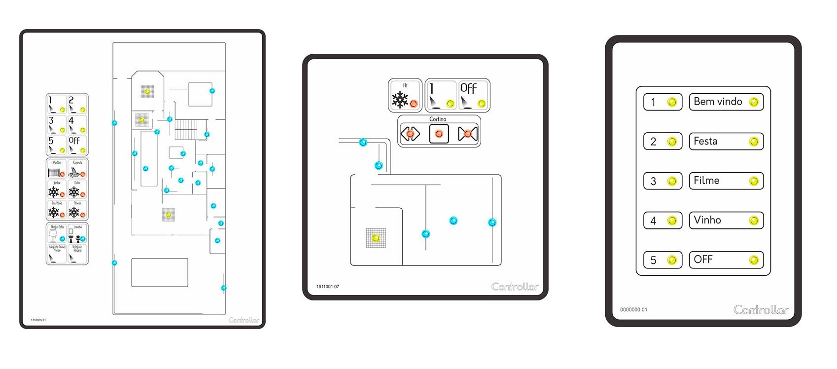 Exemplos de keypad da automação residencial